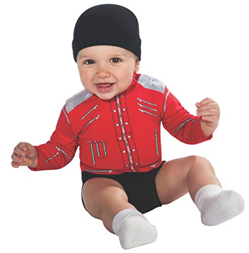 Michael Jackson Baby Beat-It Jacket Onesie Costume, Red, -