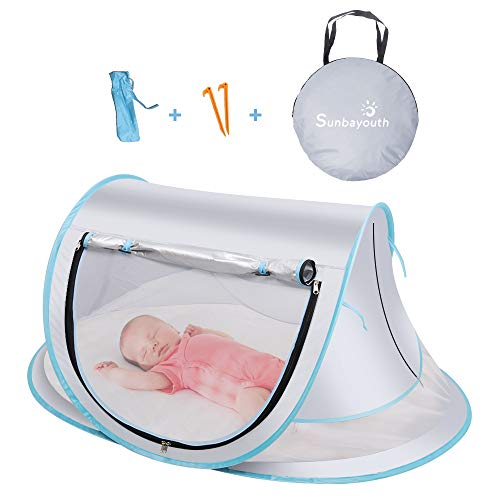 SUNBA YOUTH Baby Tent, Portable Baby Travel Bed, UPF 50+ Sun Shelters for Infant, Pop Up Beach Tent, Baby Travel Crib with Mosquito Net, Sun Shade ... (Gray)