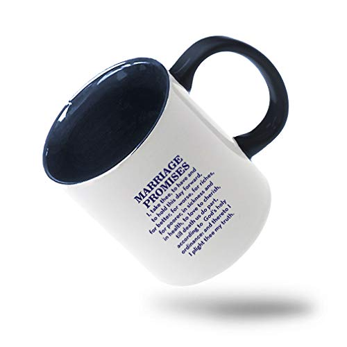 Style In Print Navy Marriage Promises I Take Three to Have and to Hold This Day Forward for Better Ceramic Cup Colored Mug - Blue -