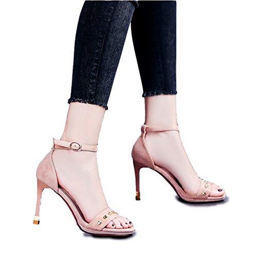 Hyun times 夏のレトロなピンクのサンダルは、リベットの女性の靴でつま先を露出