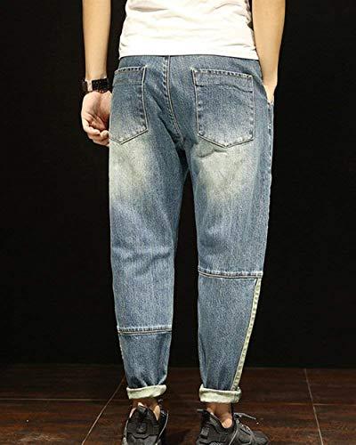 Da Bobo Usati Especial Estilo 88 Casual Lavati Allentati Larghi Look Pantaloni Blau Vintage Slim Jeans Denim Uomo 11tqUR