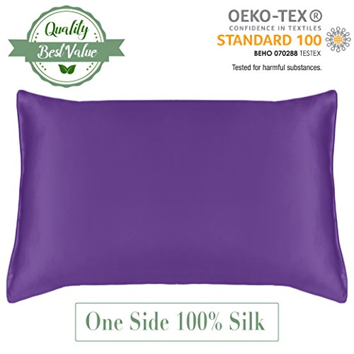 Bedroom Contemporary Canopy Bed (MYK All-Natural 100% Pure Mulberry Silk Pillowcase for Hair Rejuvenating Skin Anti-Winkle with Hidden Zipper (Facial Side Silk) Hypoallergenic Charmeuse Cover/Sham, Queen Size 20x30 inches Purple)