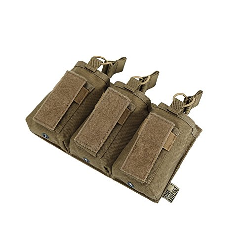 (OneTigris Elastic Kangaroo Rifle and Pistol Mag Pouch for AR AK G36 9mm .40 S&W .45 ACP Magazines (Triple-Stack, Coyote)