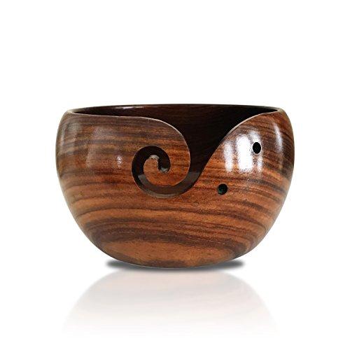 knitjoy extra large wooden yarn bowl