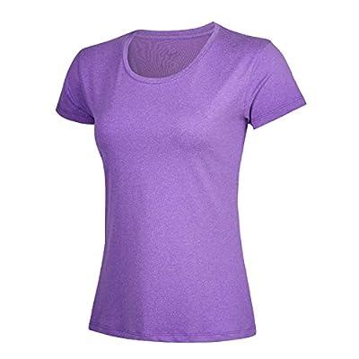 beleroy Women's t Shirt Workout Back Mesh Sportwear Quik Dry Fitness Yoga Running Short-Sleeve Top