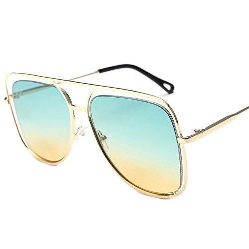 gafas y de sol sol de color Verde Amarillo gafas gran Marco cuadrado Película de sol Dorado metálicas de coloridas Gafas Shop oceánico 6 Gafas coloridas individuales ahuecadas sol v8C87x