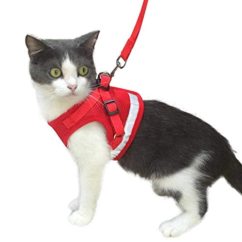 Cat Harness and Leash Escape Proof and Dog Harness Adjustable Soft Mesh Vest Harness for Walking with Reflective Strap for Pet Kitten Puppy Rabbit -Red,M from fuleier