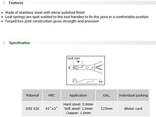 Pro'sKit 1PK-291ステンレスエンドフラッシュ斜めカットニッパーロングスリムチップ