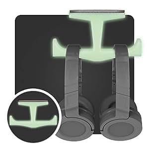 Glow inthe Dark Under Desk Headphone Hanger Stand Mount Holder, for Gaming, Music, Mobile Headsets, No Screws (Brainwavz BigT)