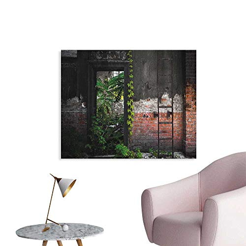 Anzhutwelve Industrial Home Decor Wall Old Door Opening in a Desolate Industry Building Brick Wall with Ivy Plants Poster Print Multicolor W36 xL32