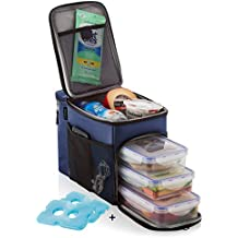 Zuzuro Insulated lunch Bag cooler box w/ 3 compartment - Includes 3 Meal Prep Containers -...