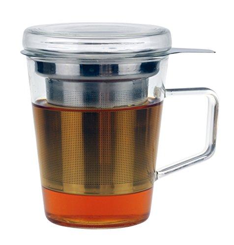 Urban Lifestyle Yoshi - Taza de te con tapa de cristal y filtro de acero inoxidable, 300 ml