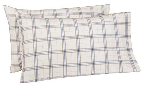 Pinzon Print (Pinzon 160 Gram Plaid Flannel Pillowcases - King, Cream/Blue Stripe Plaid - PZ-PLFLAN-CB-KPC)