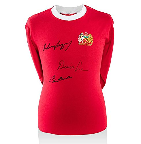 Wayne Rooney, Denis Law & Sir Bobby Charlton Signed Manchester United Shirt - To - Autographed Soccer Jerseys