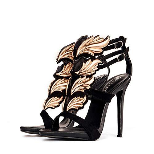 Black Flame Platform Womens Shoes - Women Pumps Leaf Flame high Heel Pumps Shoes forWomen Sexy peep Toe high Heels,jjygg2 Black Gold,9