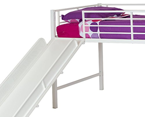 dhp junior twin metal loft bed with slide multifunctional import it all. Black Bedroom Furniture Sets. Home Design Ideas