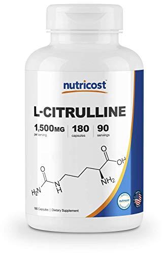 Nutricost L-Citrulline 750mg, 180 Capsules – 1500mg Per Serv, Gluten Free For Sale