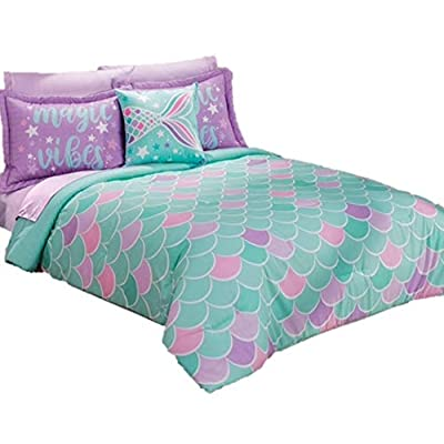JORGE'S HOME FASHION INC Mermaid Junior Girls Reversible Comforter Set 3 PCS Twin Size: Home & Kitchen