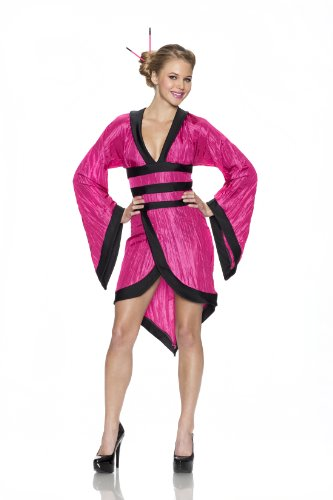[Delicious Gorgeous Geisha Costume, Fuchsia, Medium] (Sexy Geisha Costumes)