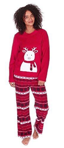 Para Mujer Navidad / Polar Invierno Set Pijama - Rojo Reno, Large