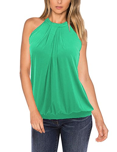 Yesfashion Women Sleeveless Halter Twisted Pleated Tank Top Blouse Light Green S ()