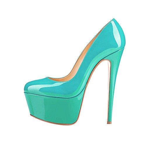 la Arc en punta Ciel mujeres Verde redonda plataforma bombas de de zapatos de las xIaIwgqrA