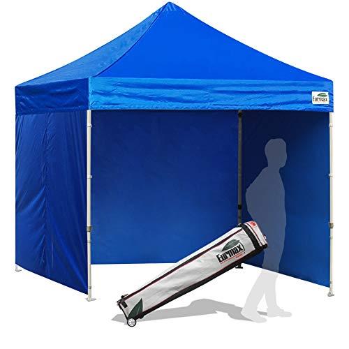 Eurmax 8x8 Feet Ez Pop up Canopy Tent, Pop-up Instant Tent, Outdoor Canopies Commercial Gazebo with Sidewalls Bonus Roller Bag (Blue)