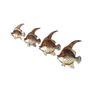 Brass Fish Wall Plaque Set - Nautical Decor