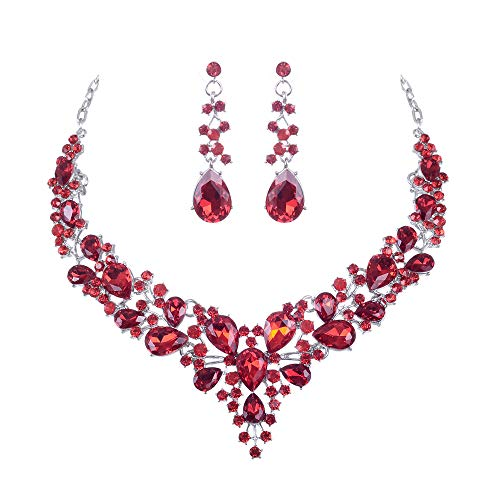 See the beauty Bridal Austrian Crystal Statement Necklace Earrings Jewelry Set Gifts for Wedding Dress (Red) ()