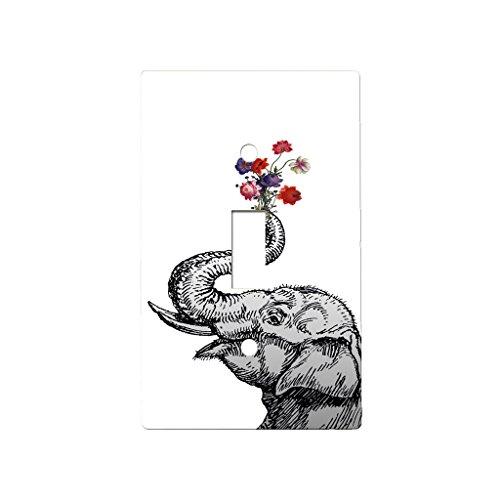 Elephant Flower Bouquet - Decor Single Switch Plate Cover Metal