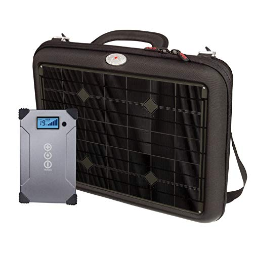 Voltaic Generator Solar Charger Briefcase for Laptops | Includes a Battery Pack (Power Bank) and 2 Year Warranty | Powers Laptops Including Apple MacBook, Phones, More - Charcoal