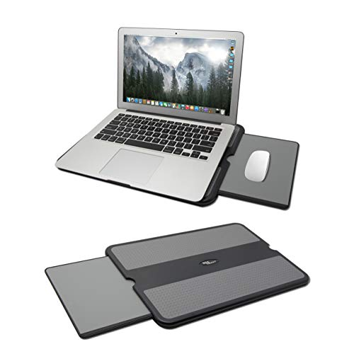 MAX SMART Laptop Lap Pad - Laptop Stand Pad w Retractable Mouse Pad Tray, Anti-Slip Heat Shield Tablet Notebook Computer Stand Table, Working Surface for Home Office, Recliner, Business Travel