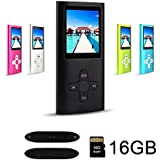 RHDTShop MP3 MP4 Player with a 16 GB Micro SD card, Support UP to 32GB TF Card, Portable Digital Music Player/Video/Voice recorder/FM Radio/E-Book Reader, Black