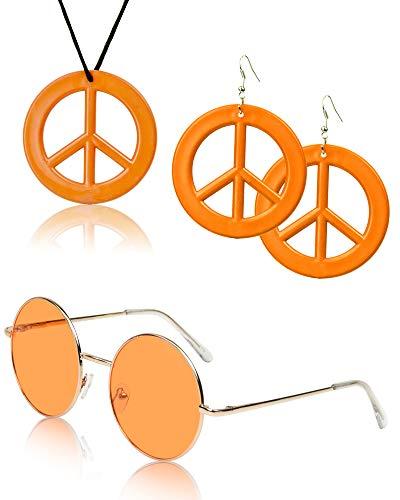 SUNNYPRO 60's Costumes for Women Men Dresses Dress 60s Earrings 60 Accessories Orange ()