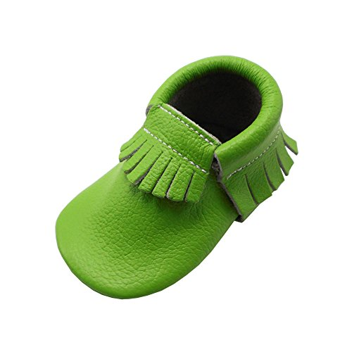 YIHAKIDS Baby Tassel Shoes Soft Leather Sole Infant Kids Crib Toddler First Walkers Moccasins Mint Green(Size 6.5,12-18 Months/5.3in)