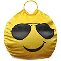 Emoji Pals Cool Shades Bean Bag with Handle, Yellow, 55
