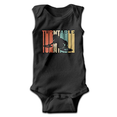 Retro Style DJ Turntable Silhouette Funny Unisex Baby Sleeveless Bodysuits Coverall Jumpsuit Black