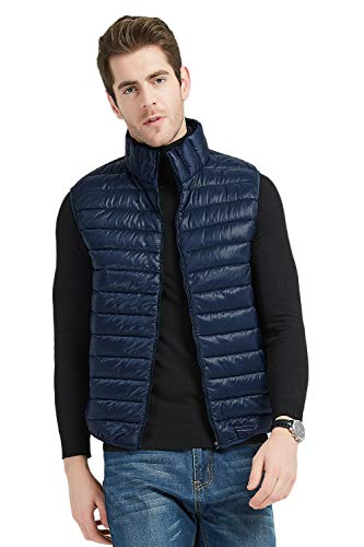 MADHERO Men Puffer Vest Lightweight Sleeveless Jacket Packable Puffy Navy M ()