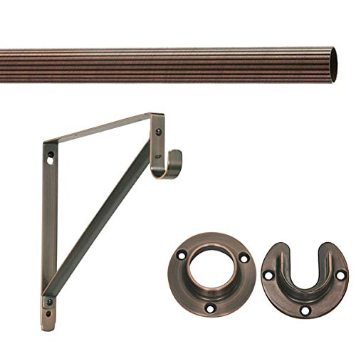 "- 8' Foot Lido Heavy Duty Closet Rod Kit - Oil Rubbed Bronze Finish - 1 5/16"" OD with 2 Wall Flanges & 1 Support Bracket"