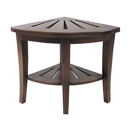 Redmon Genine Corner Shower Bench, Wood Grain Teak
