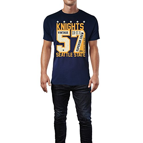Sinus Art ® Herren T Shirt Knights 57 Varsity Guardians Denim ( Navy ) Crewneck Tee with Frontartwork