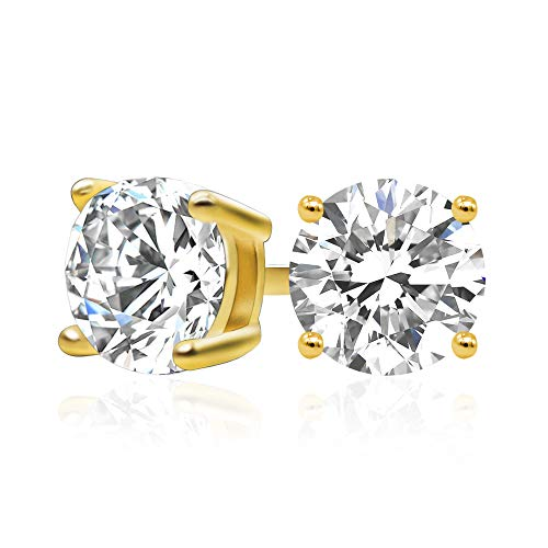 14k Yellow Gold Plated 925 Sterling Silver Cubic Zirconia Classic Basket Prong Set Eternity Stud Earrings, 6mm