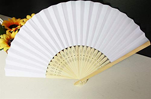 (Chusea Simple Pratical Supplies Folding Fan Handheld Paper Fans Party DIY Home Decoration(White))