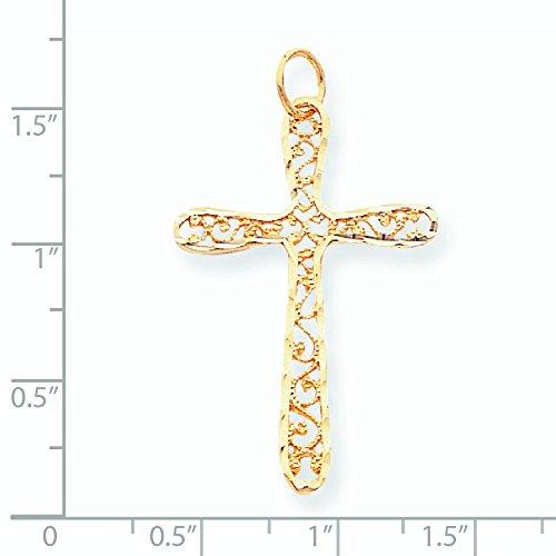 10K Or poli Pendentif Croix en filigrane-doré Grade Plus élevé que or 9carats