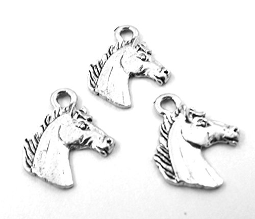 Set of Three (3) Silver Tone Pewter Horse Head Charms