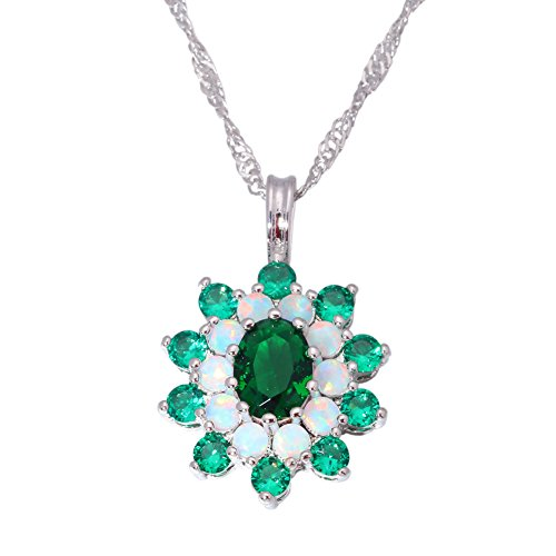 CiNily Created White Fire Opal Green Quartz Amethyst Rhodium Plated Women Jewelry Necklace ()
