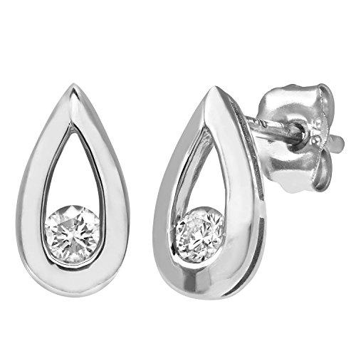 Revoni Bague en or blanc 9carats-Boucles d'Oreilles Goutte-Diamant 0.15Cts