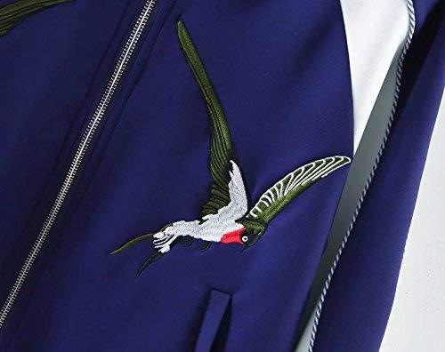 Manica Giacca Abbigliamento Autunno Collo Cerniera Coreana Jacket Lunga Biker Tasche Giaccone Pattern Moda Outerwear Casual Giovane Blu Ricamo Donna Pilot Con Di Laterali wXfUxzq