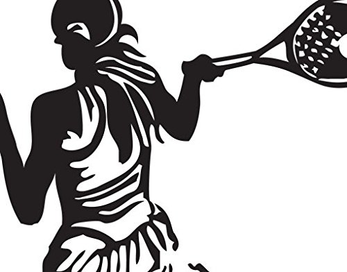 Wall Decal Tennis Player, Color: Aubergine, 57.5x39.4