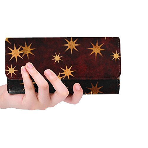 Unique Custom Stars Gold Orange Yellow Brown Red Christmas Women Trifold Wallet Long Purse Credit Card Holder Case Handbag